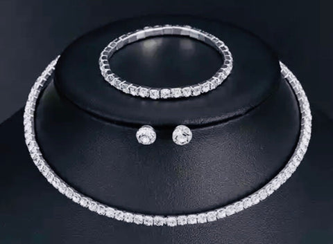 Classic Choker Necklace Set with Rhinestones in Silver Tone