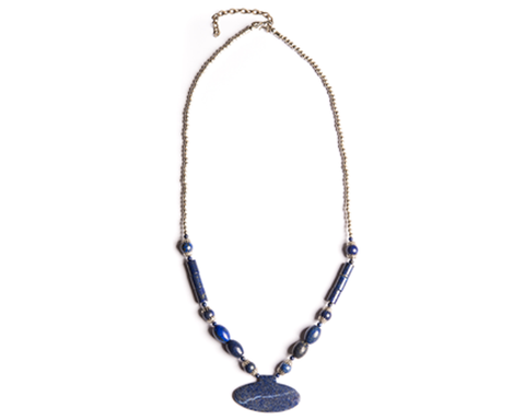 """Boosah"" Lapis Silvertone Oval Drop Necklace"