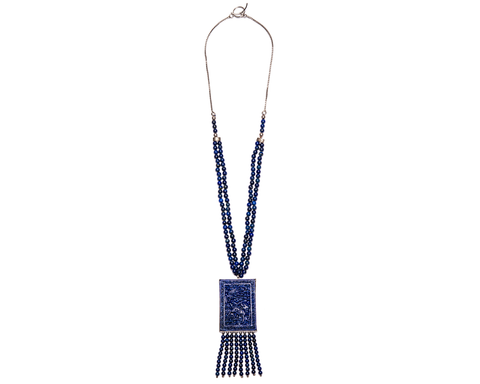 """Khalida"" Carved Lapis Pendant Necklace"