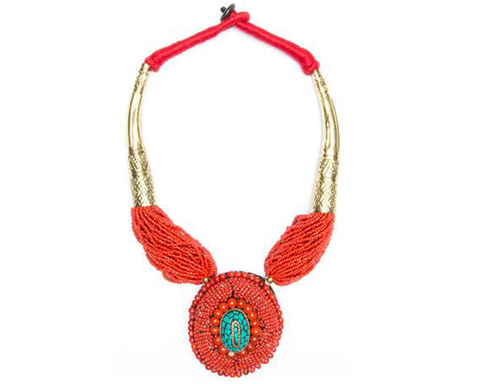 """Kanalai"" Seed Bead Oval Drop Necklace"