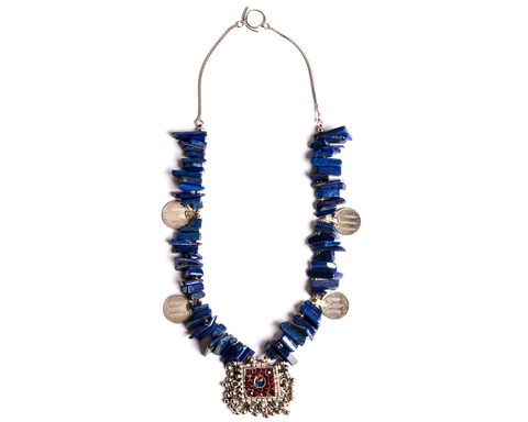 """Najeeba"" Lapis and Coin Drop Necklace"