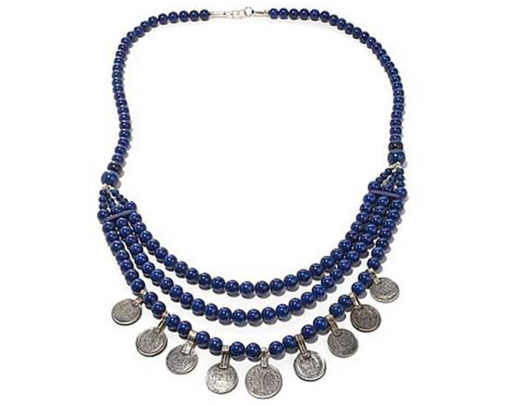 """Anoosh"" Lapis Bead Coin Necklace"