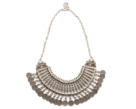 """Sadhvi"" Horn Collar Necklace with Fringe"