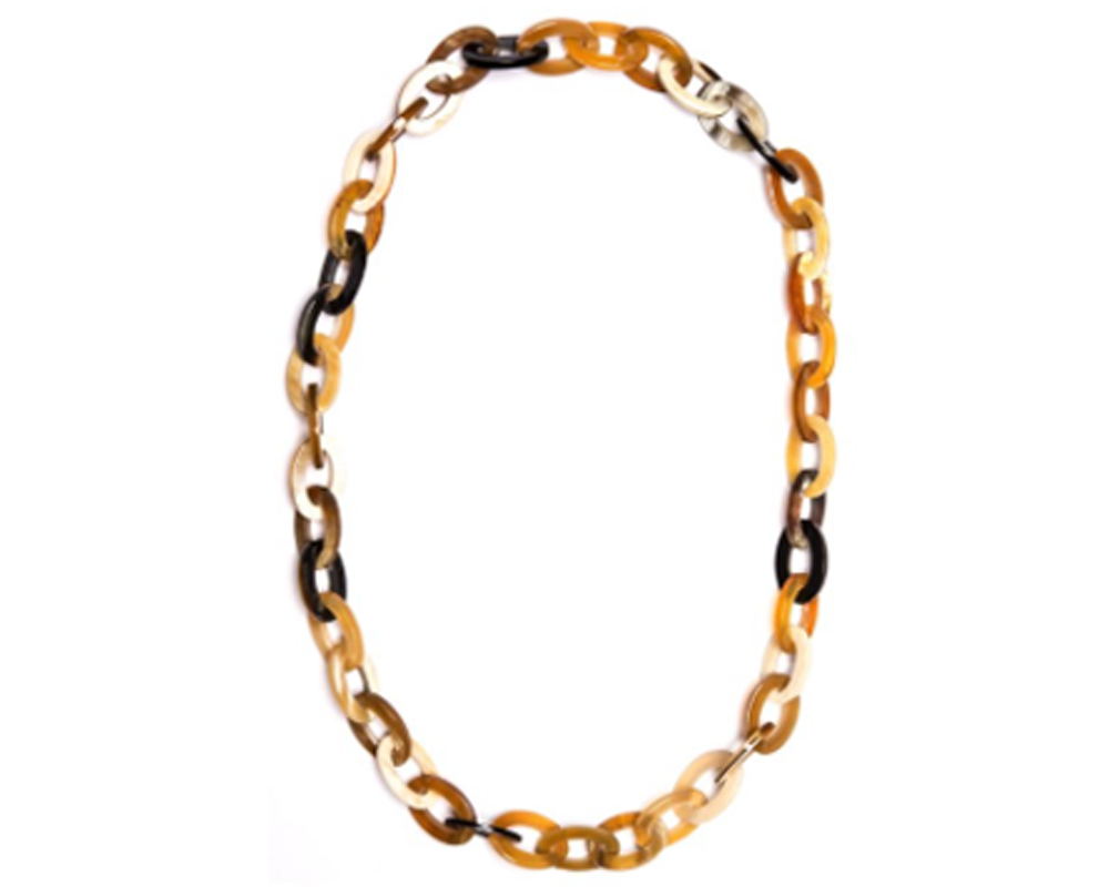 """Bao"" Small Oval Horn Chain-Link Necklace"