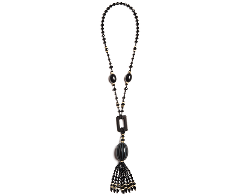"""Olimani"" Faceted Bead Station Tassel Necklace"