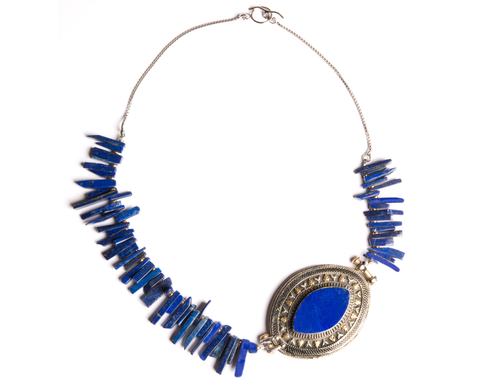 """Fatina"" Lapis Asymmetrical Station Necklace"