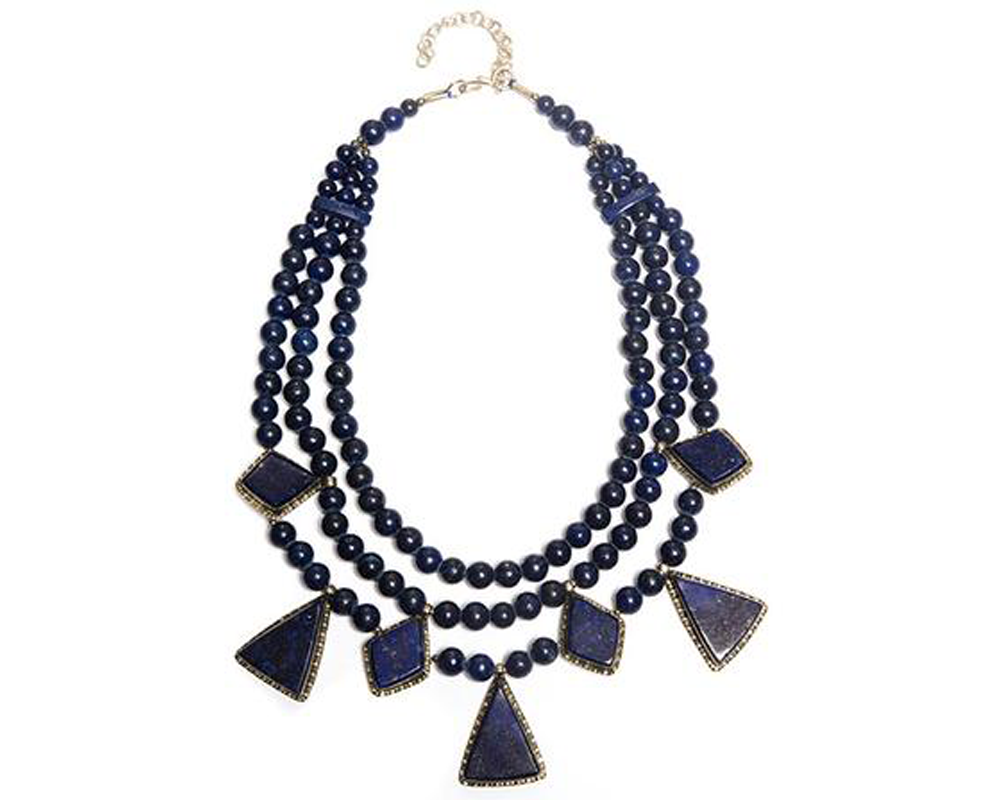 """Balour"" Lapis Triangular Necklace"