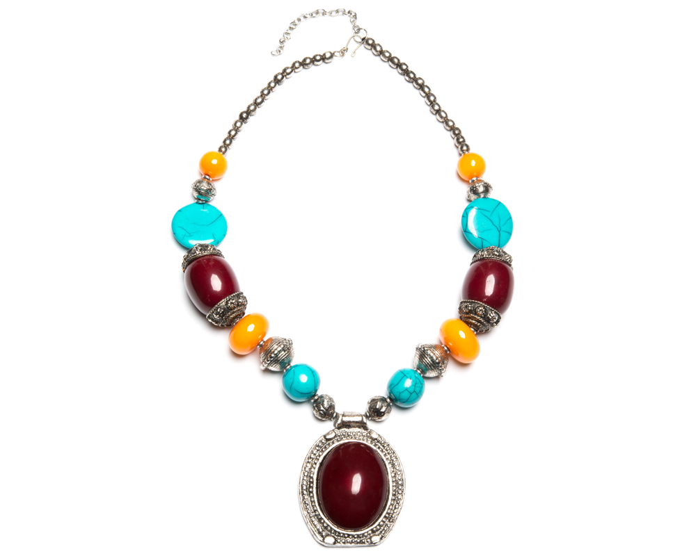 """Manisha"" Multicolor Bead Drop Necklace"