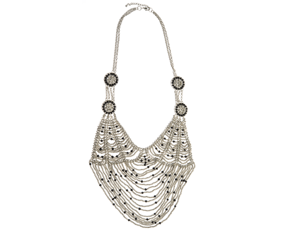 """Triveni"" Silver and Black Web Linked Necklace"