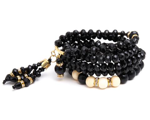 """Manmeet"" Clay and Gold Bead Stretch Bracelet Set"