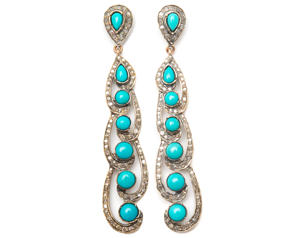 """Harpreet"" Diamond and Turquoise Dangle Earrings"