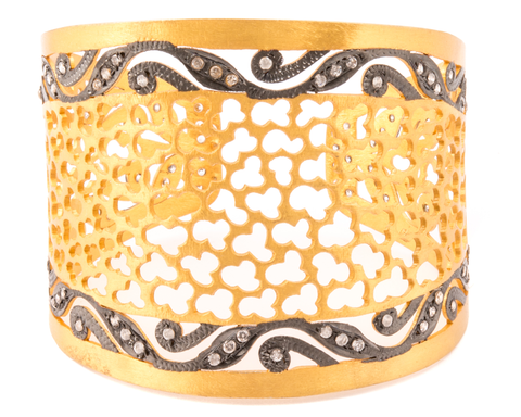 """Aparna"" Diamond 22k Gold Plated Sterling Silver Cuff"