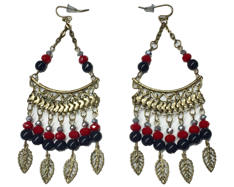 """Vela"" Red and Black Chandelier Earrings"