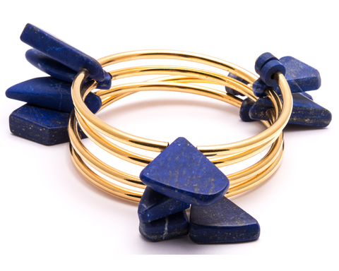 """Priyal"" Twisted Lapis Cuff"