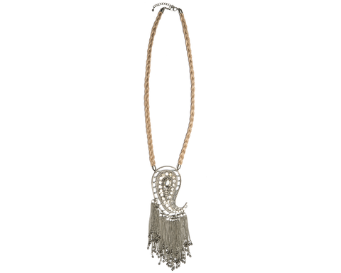 """Zuleika"" Braided Paisley Necklace with Tassels"