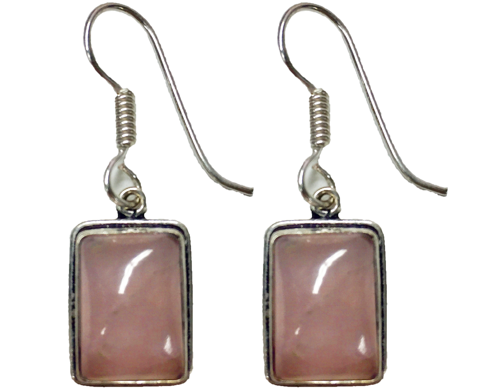 """Vrinda"" Pink Square Dangle Earrings"