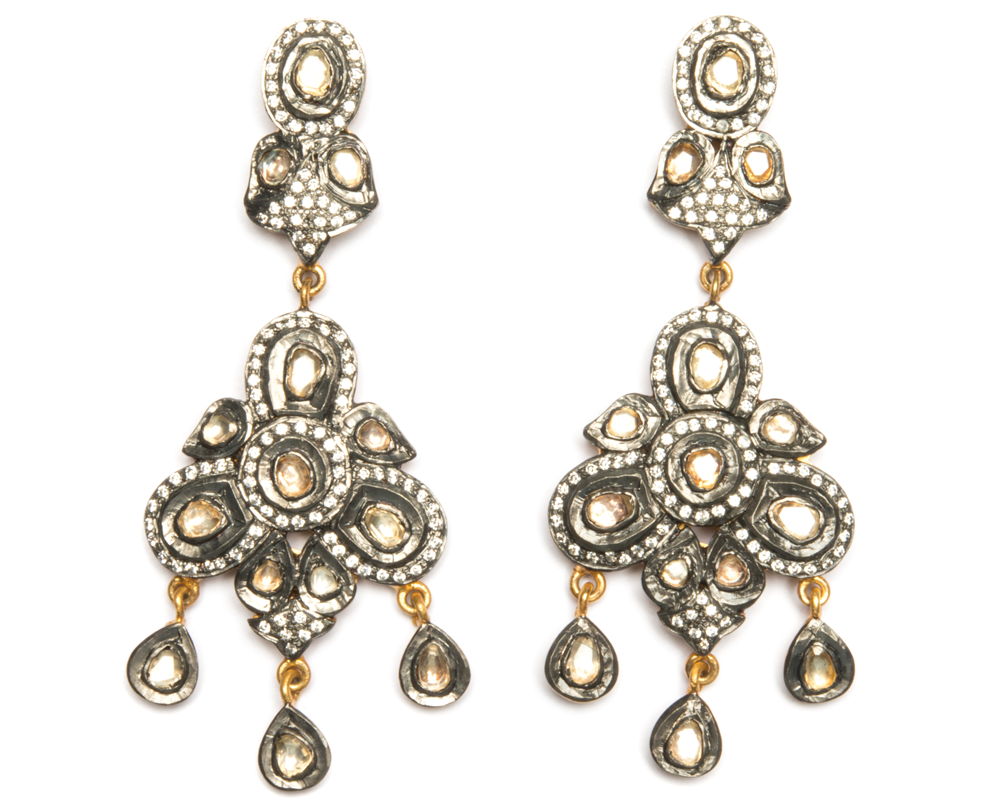 """Veena"" Sterling Silver and Polki Crystals Dangle Earrings"