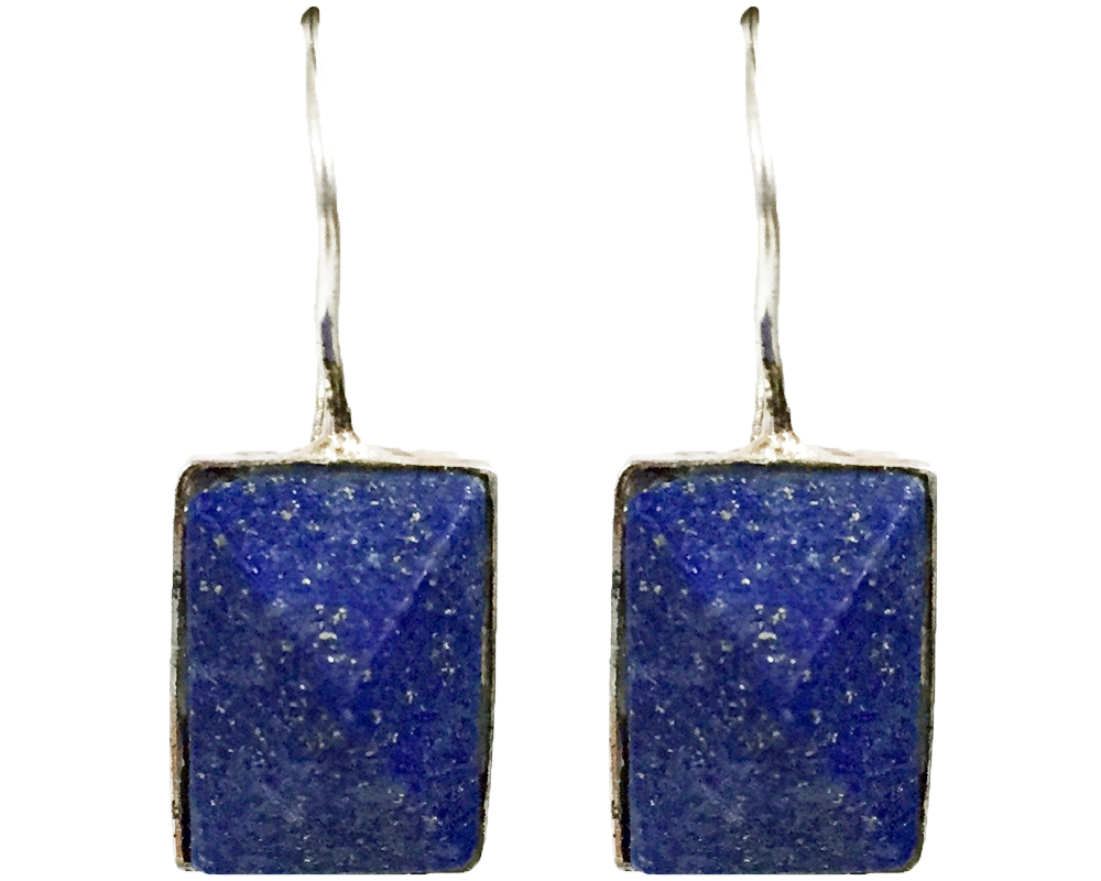 """Aarti"" Square Lapis Dangle Earrings"