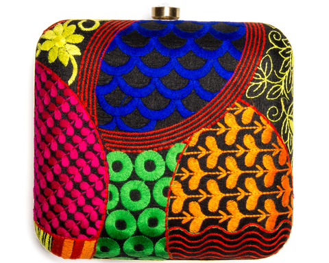 """Purala"" Beaded Chevron Clutch"