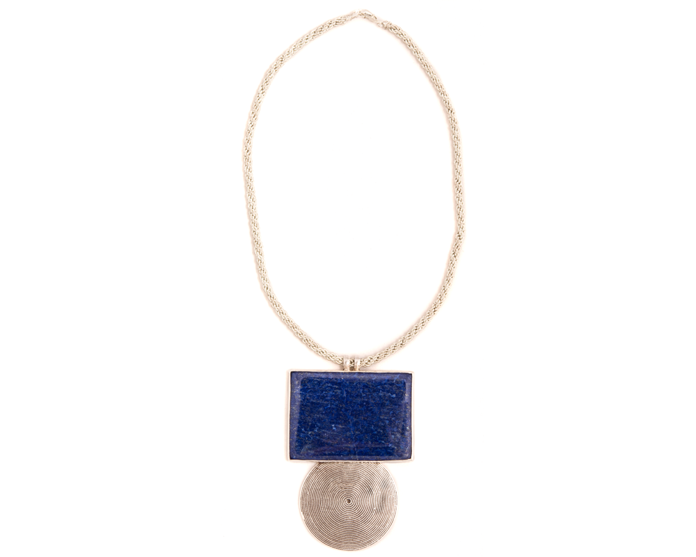 """Amira"" Sterling Silver and Lapis Geometric Necklace"