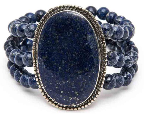 """Fareiba"" Aztec-Inspired Lapis and Turquoise-Color Stone Cuff"