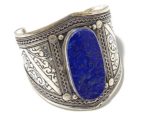 """Manorama"" Lapis Silverstone Etched Cuff"