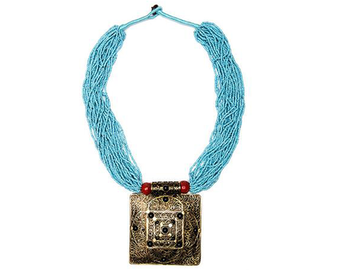 """Gayathri"" 3-Tiered Beaded Medallion Tassel Necklace"