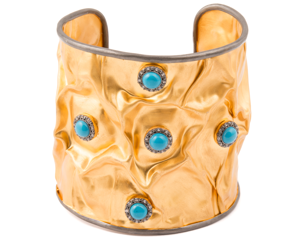 """Zara"" Sleeping Beauty Turquoise and 22k Gold Plated Over Sterling Silver Cuff"