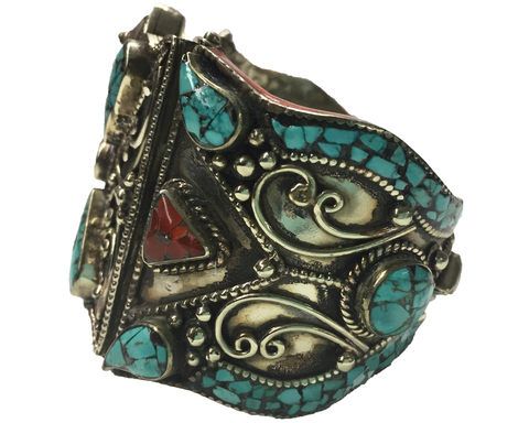"""Anek"" Western Simulated Turquoise and Coral Bracelet"
