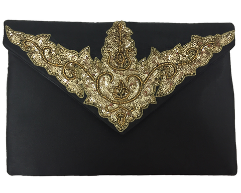 """Usri"" Metallic Goat Hair Oversized Clutch"
