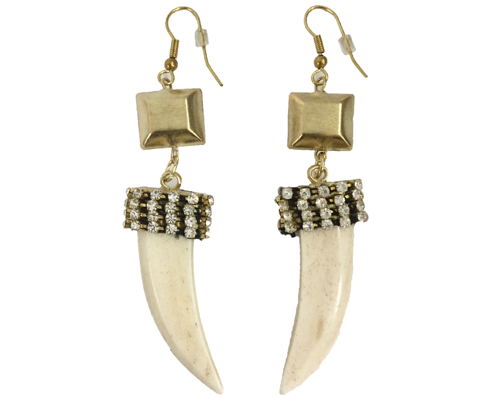 """Timila"" Rhinestone Wrapped Horn Dangle Earrings"