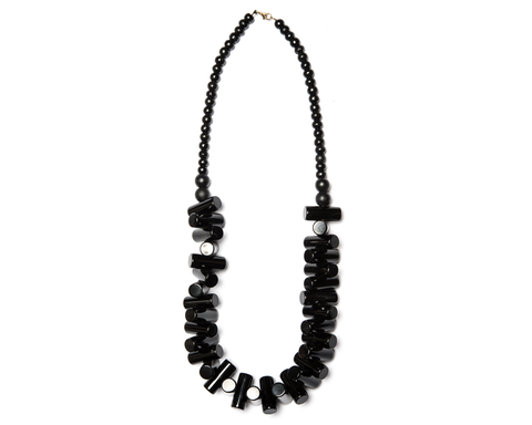 """Gaya"" Black Toggle Necklace"