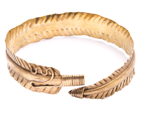 """Akash"" Goldtone Engraved Feather Cuff"