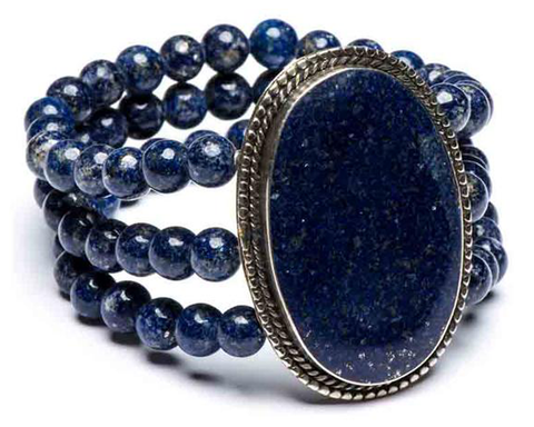 """Arzu"" Oval Lapis 3-Row Stretch Bracelet"