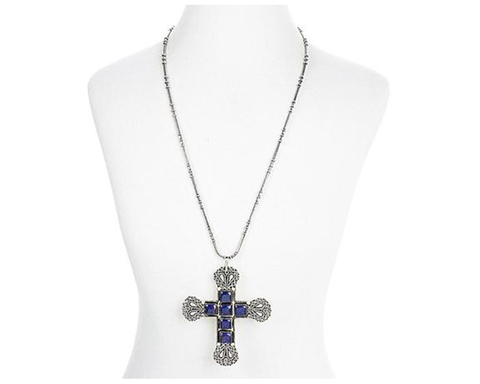 """Mahtab"" Lapis Cross Pendant Necklace"