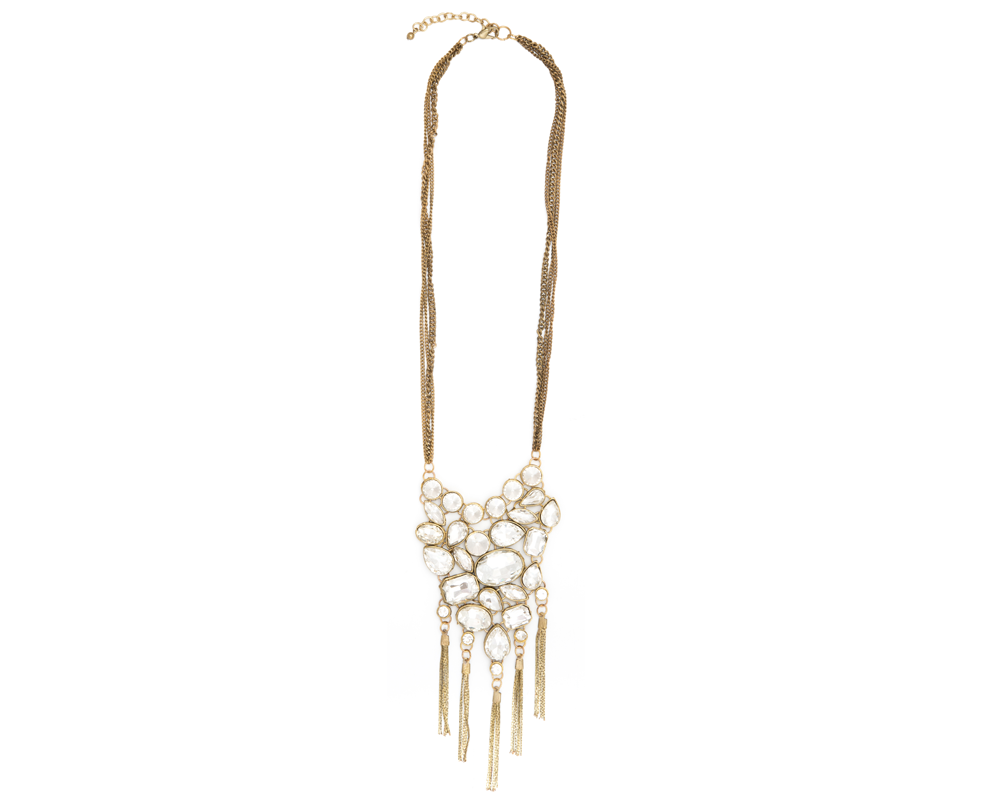 """Jasnoor"" Rhinestone and Gold Chain Tassel Necklace"
