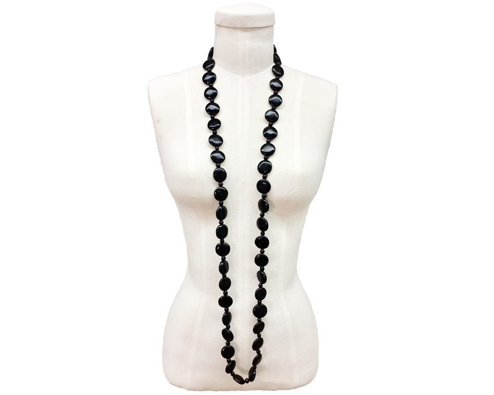"""Palak"" Black Button Bead Necklace"