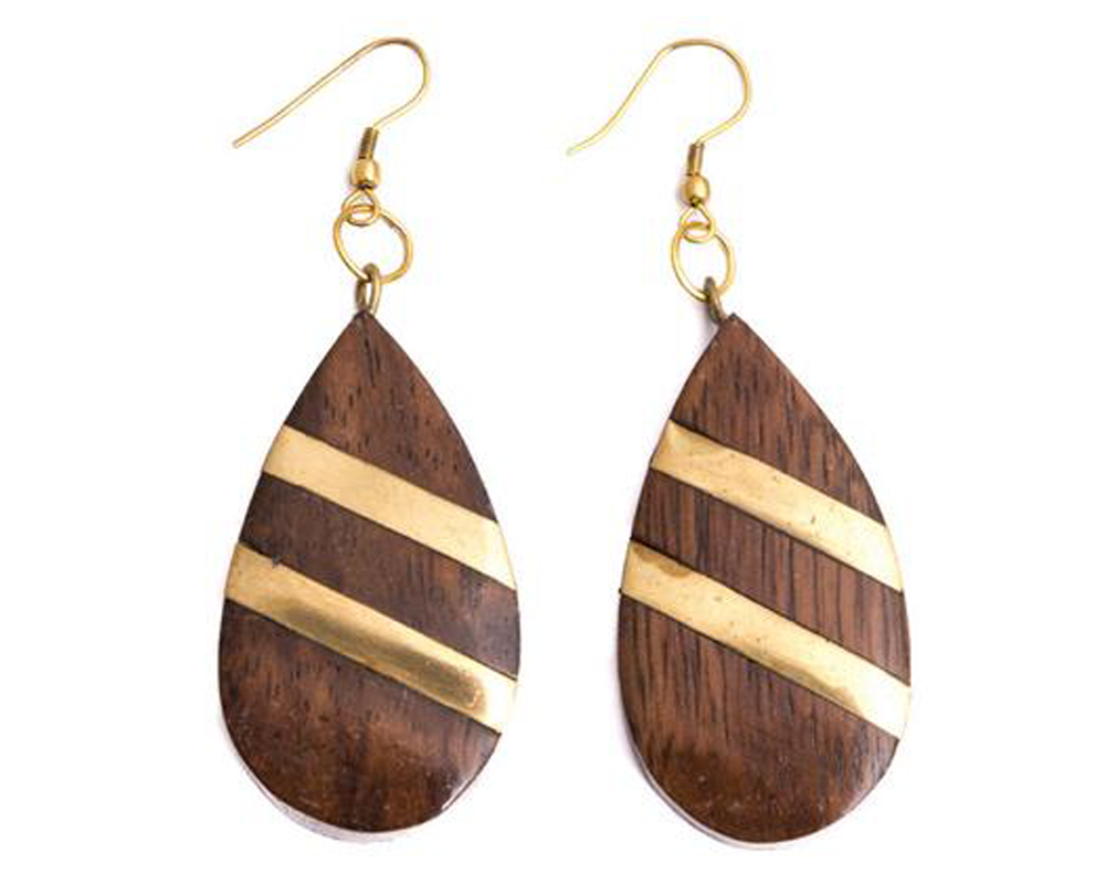"""Puja"" Striped Wood Teardrop Earrings"