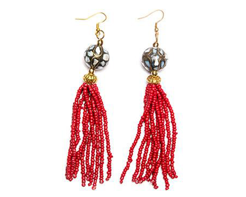 """Shomili"" Mosaic Tassel Earrings"
