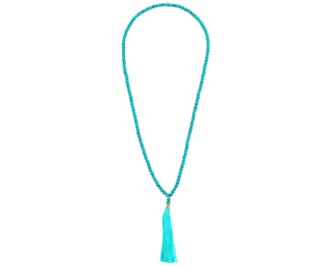 """Poornima"" Blue Stone Goldtone Half-Moon Tassel Necklace"
