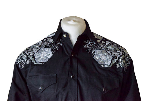 Rockmount Black with Grey Floral Embroidered Western Cowboy Shirt