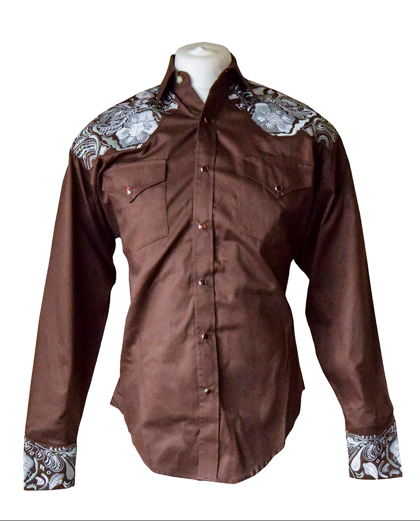 Rockmount Brown with Grey Floral Embroidered Western Cowboy Shirt