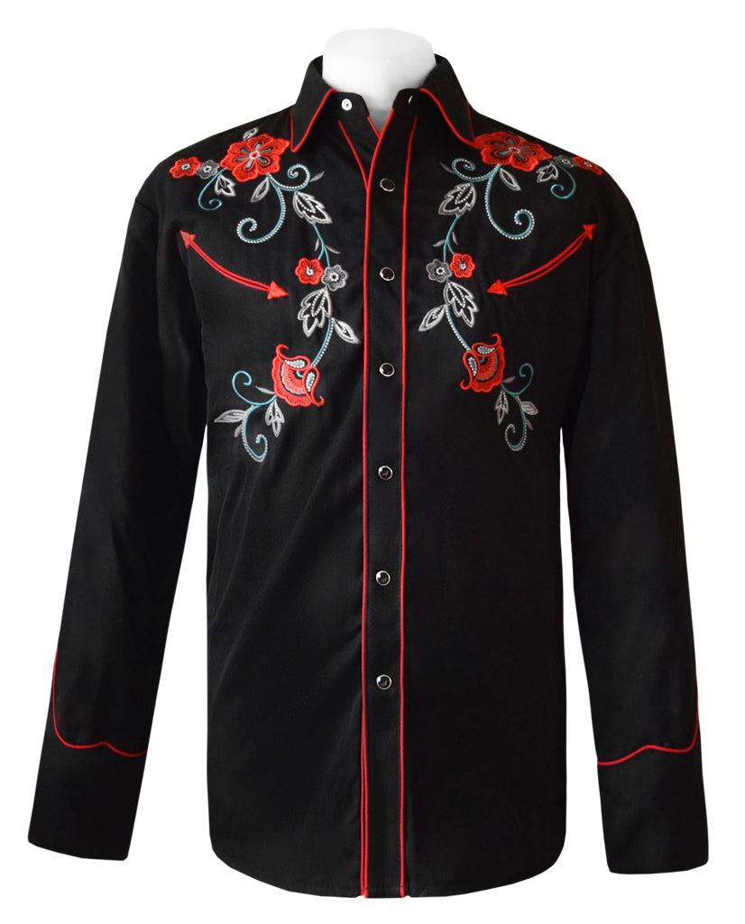 Scully Black with Red and Turquoise Floral Embroidered Western Cowboy Shirt