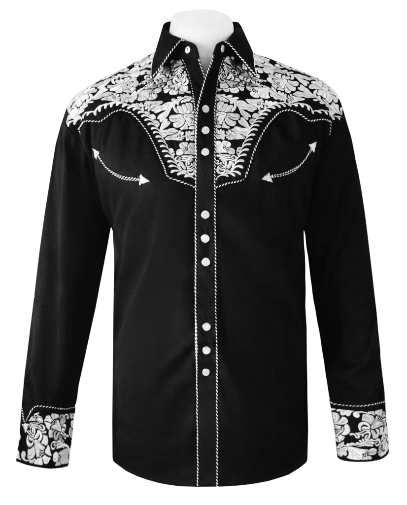 Scully Black with Silver Embroidered Western Cowboy Shirt