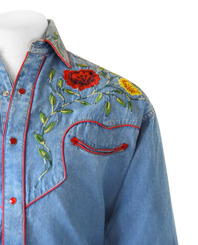 Rockmount Denim Western Cowboy Shirt with Coloured Embroidery