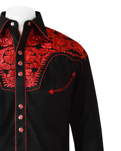 Scully Black with Red Embroidered Western Cowboy Shirt
