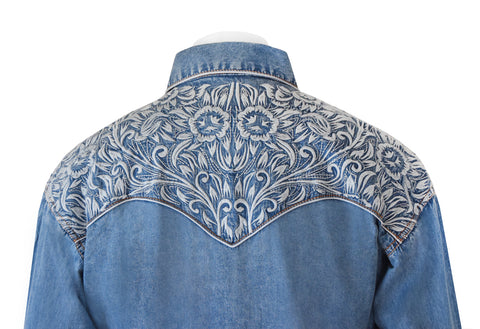 Rockmount Denim Western Cowboy Shirt with Grey Embroidery