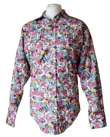 Rockmount Day of the Dead Pink Western Cowboy Shirt