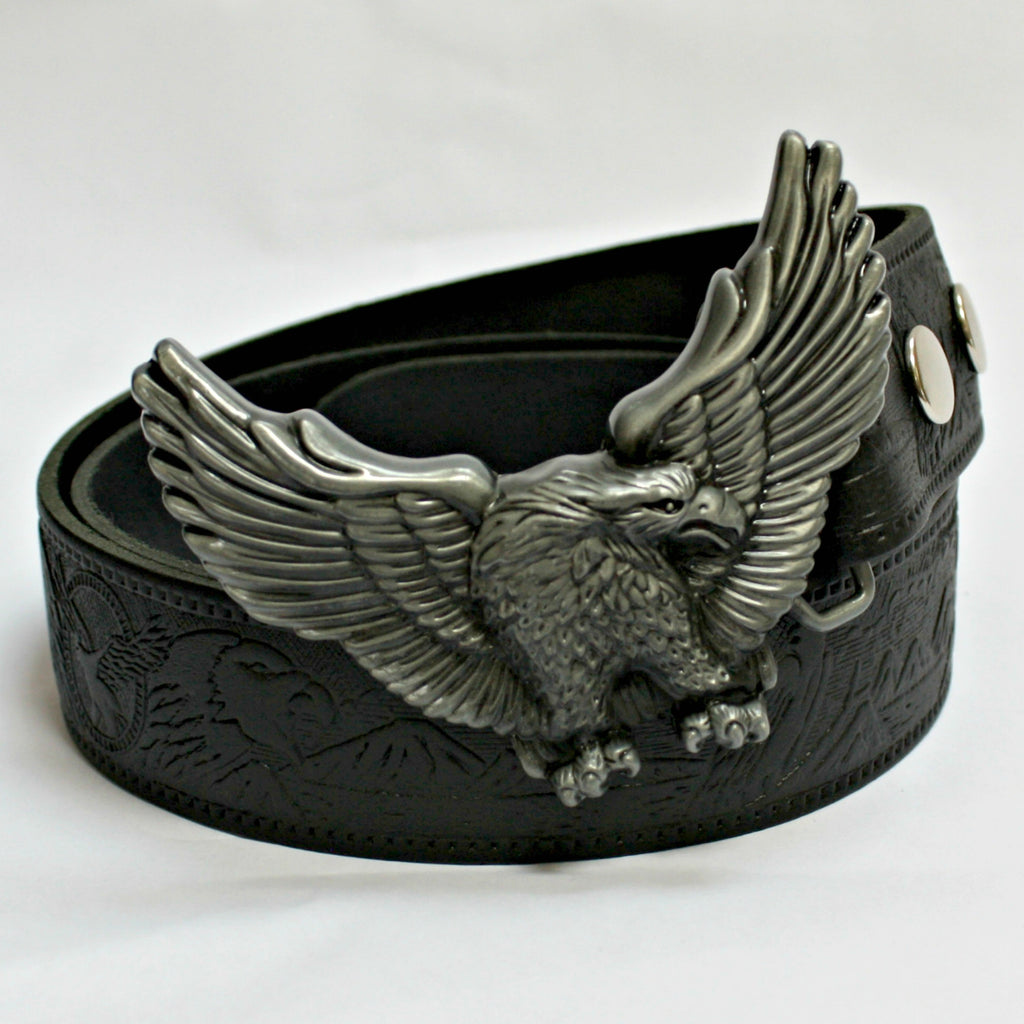 Soaring Eagle Buckle & Black Leather Belt