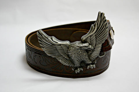 Soaring Eagle Buckle & Dark Brown Leather Belt